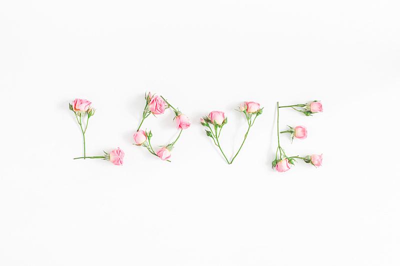 在上面,单词,玫瑰,视角,平铺,贺卡,情人节,夏天,模板,白色