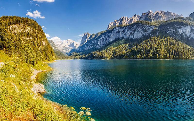 湖,非凡的,阿尔卑斯山脉,蓝色,山谷,居住区,度假胜地,戈绍,上奥地利州,云