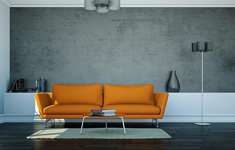 沙发,前面,橙色,银色,围墙,明亮,住宅房间,茶几,华贵,砖