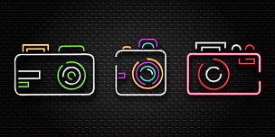 霓虹灯,相机,摄影师,艺术,矢量,分离着色,概念,写实,装饰