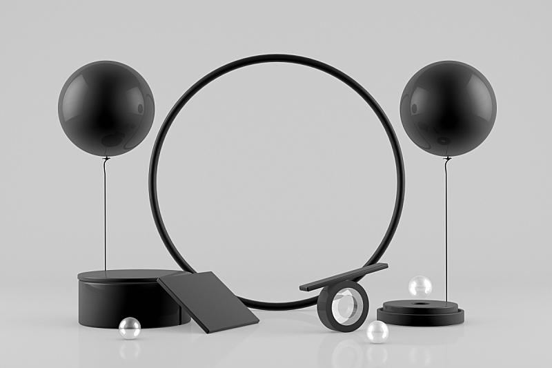 空的,三维图形,圆形,黑色,商品,灰色背景,边框,商务,球体,几何形状