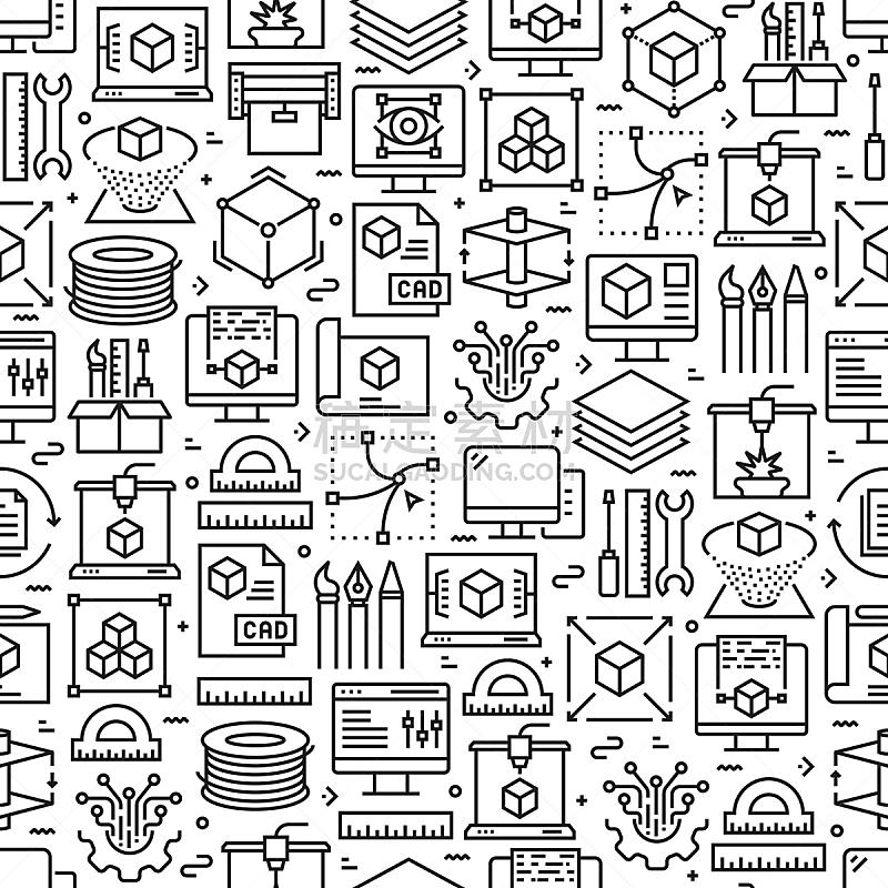 计算机图标,技术,3D打印技术,四方连续纹样,背景,线条,家庭,矢量,材料,中风