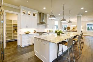现代,厨房,华贵,白色,住房,新的,水平画幅,无人,巨大的,天花板