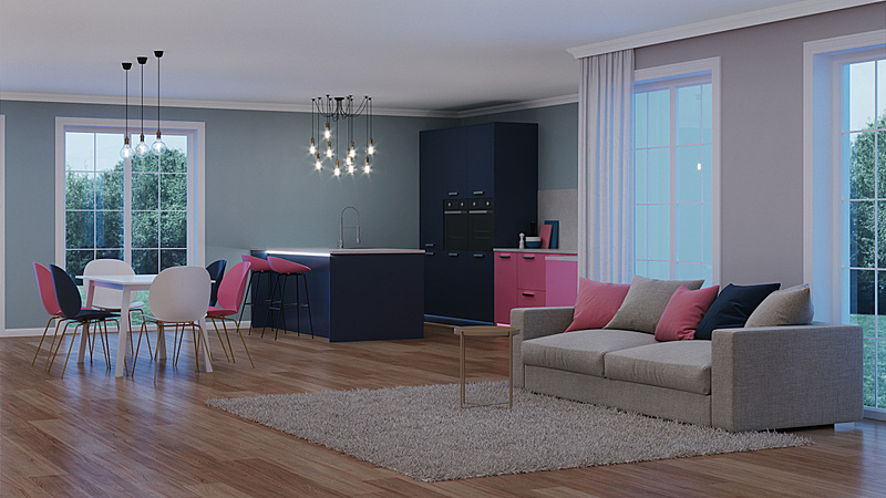 现代,三维图形,房屋,室内,粉色,厨房,夜晚,电灯,泉