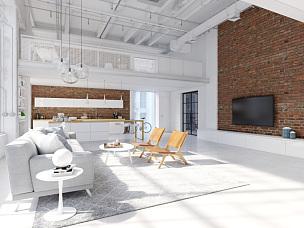 现代,城市,复式楼,三维图形,视角,纽约,空的,华贵,砖,椅子