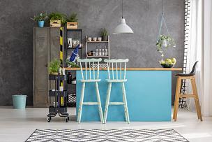 吧台,吧椅,饭厅,留白,家庭生活,家具,金属,明亮,居住区,现代
