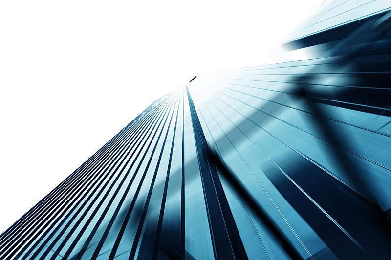 正下方视角,看,商务,现代,天空,办公楼外观,水平画幅,建筑,蓝色,摩天大楼