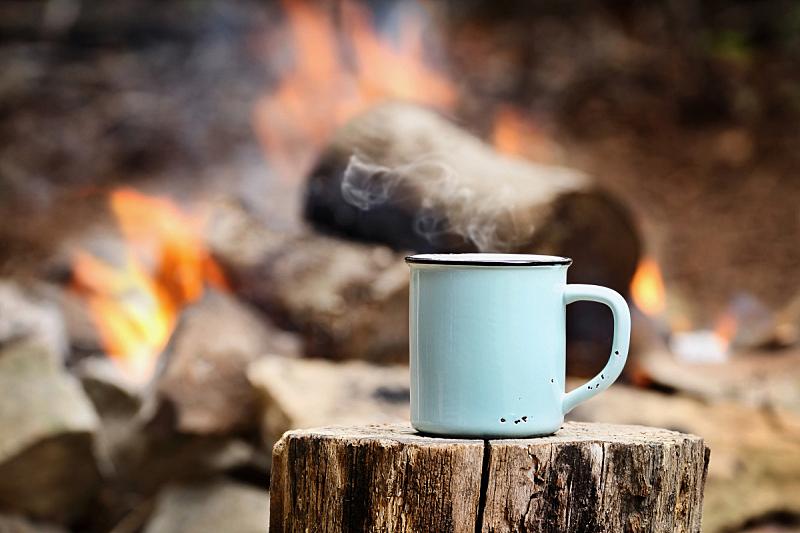 营火,咖啡,篝火,热饮,马克杯,柴火,秋天,圆木,大篝火,杯