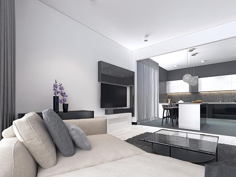 厨房,公寓,白色,高雅,宽的,室内,墙,北欧,扶手椅,沙发