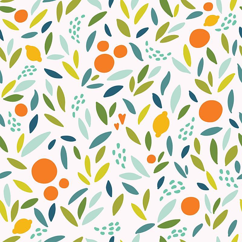 四方连续纹样,柠檬,叶子,橙子,矢量,可爱的,多色的,色彩鲜艳,纺织品,无人