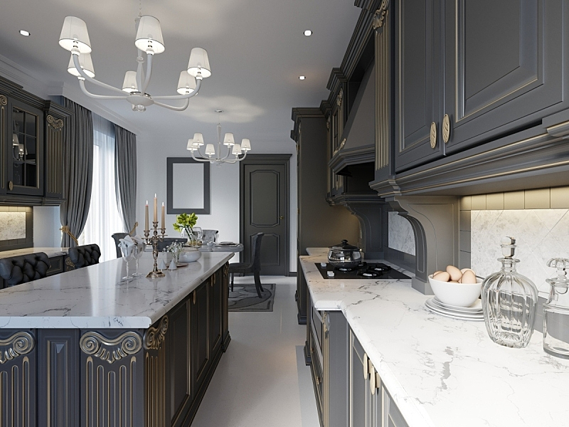 现代,厨房,家具,外立面,室内设计师,简单,黑色,英格兰,大理石,高雅