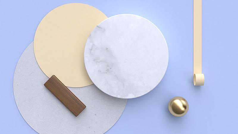 几何形状,三维图形,大理石,纸,平铺,背景,极简构图,球,艺术,水平画幅