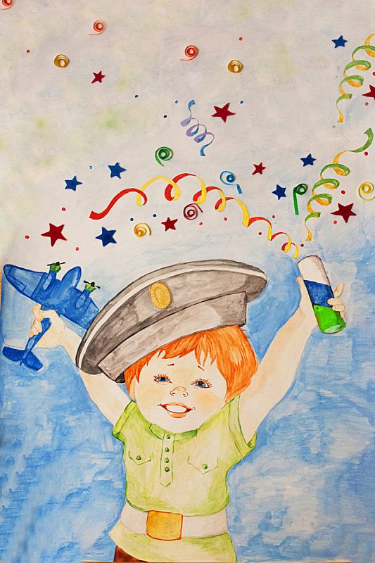绘画插图,快乐拉炮,水粉画,欢乐,男孩,儿童,节日,蜡笔,幸福,垂直画幅