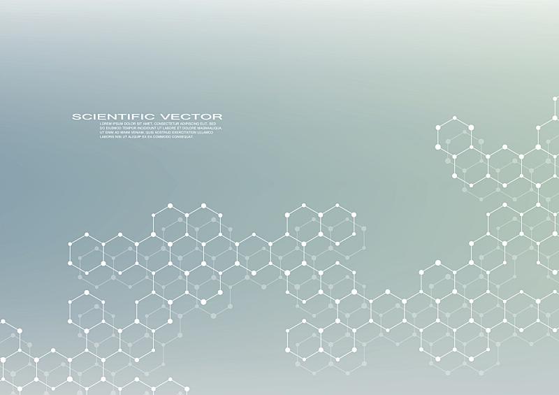六边形,分子结构,神经元,分子,脱氧核糖核酸,绘画插图,矢量,背景,科学,健康保健