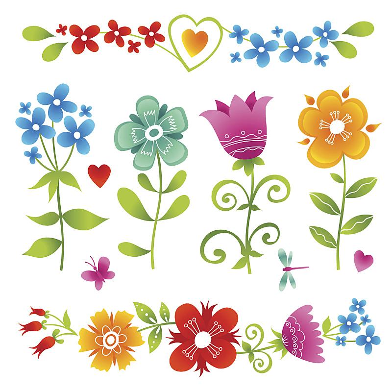 多色的,矢量,明亮,仅一朵花,华丽的,边框,橙色,装饰物,春天,背景