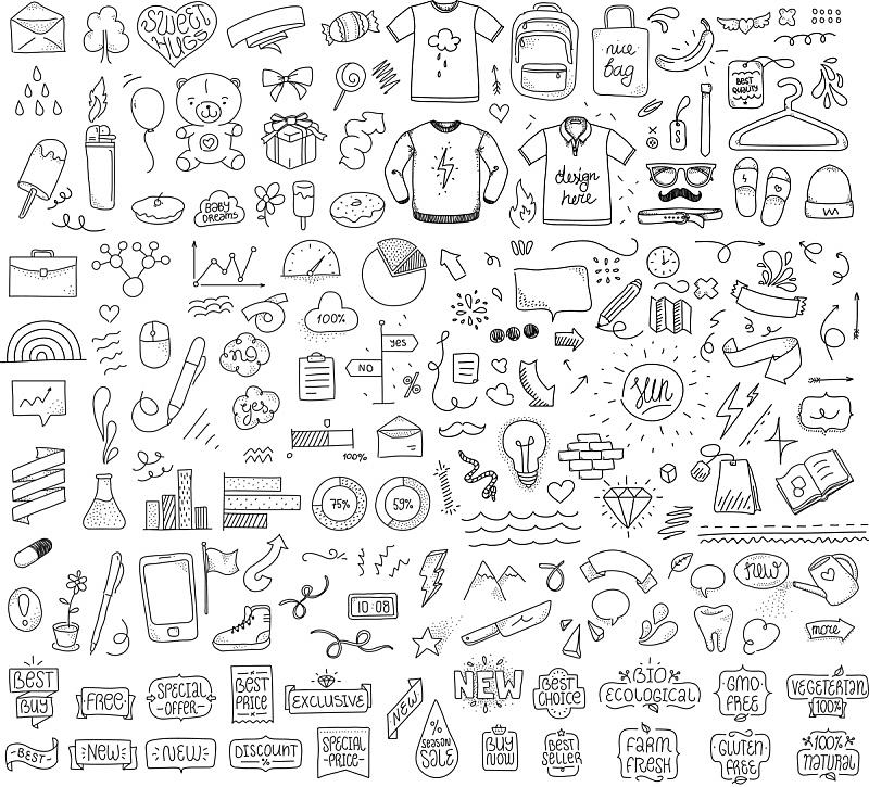 乱画,草图,矢量,手,分离着色,组物体,速写本,铅笔画,箭头符号,云