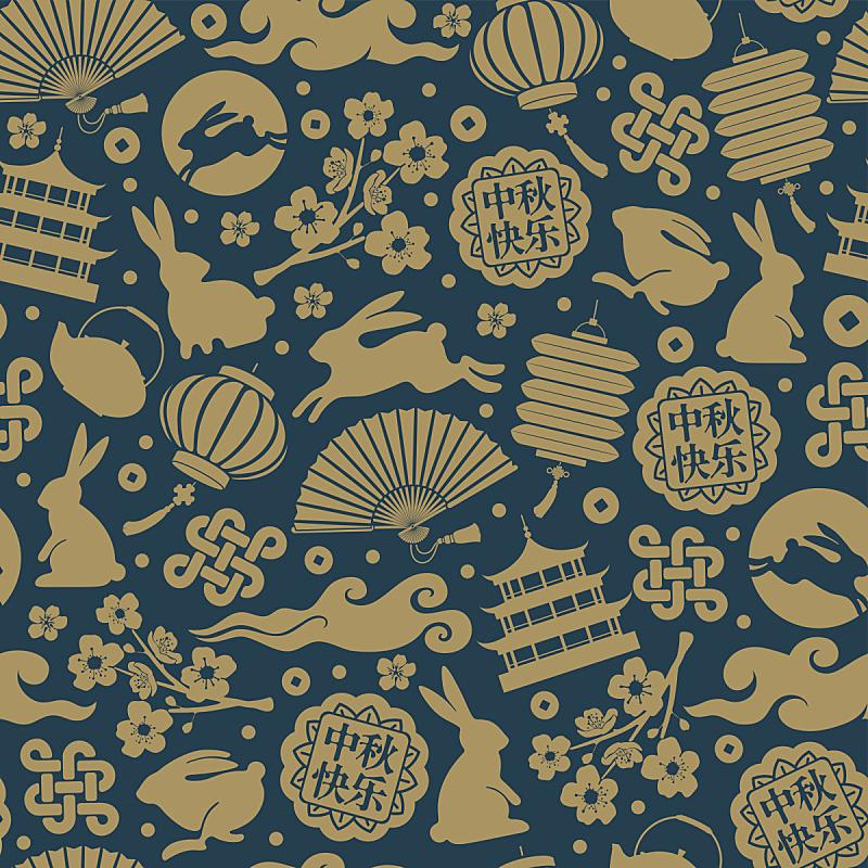 四方连续纹样,传统节日,秋天,中间,兔年,中秋节,中国元宵节,设计元素,充满的,中国灯笼