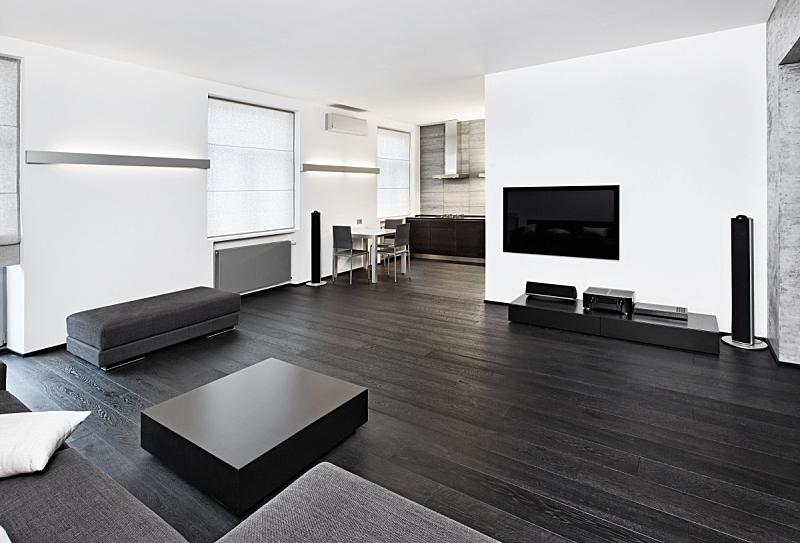 起居室,室内,极简构图,简单,黑白图片,空调,茶几,水平画幅,无人,灯
