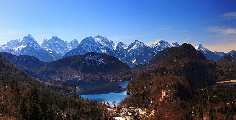 旧天鹅堡,湖,德国,巴伐利亚阿尔卑斯山区,新天鹅城堡,阿尔普斯湖,美,水平画幅,山,雪