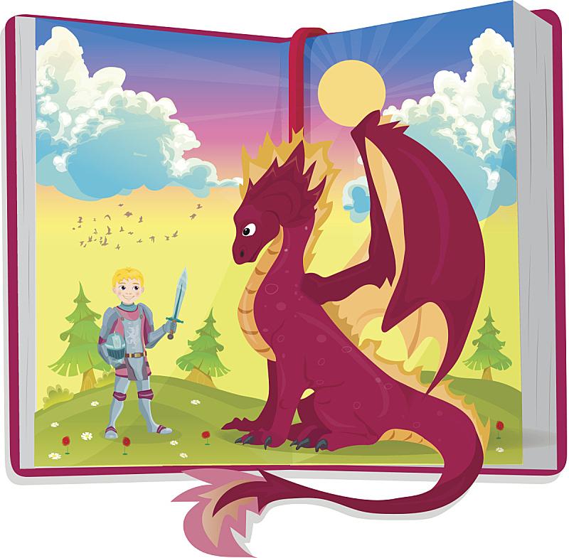 侍从,绘画插图,书,龙,开着的,王子,剑,小的,动物,童话故事