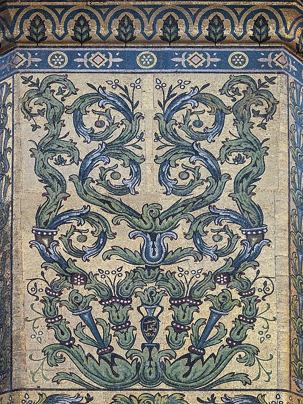 大马士革,叙利亚,镶嵌图案,倭马亚大清真寺,建筑结构,中东,建筑外部,美术工艺,中间部分,垂直画幅