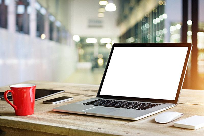 白色,显示器,背景,办公室,笔记本电脑,空白的,桌子,商店,乡村风格,居住区