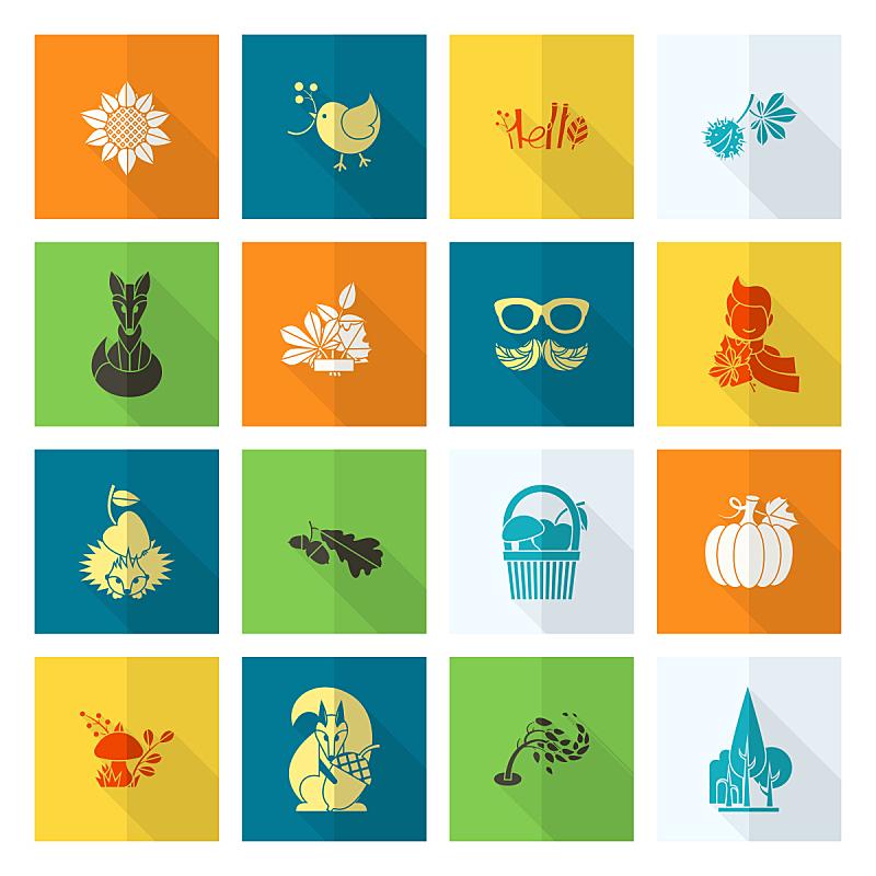 符号,秋天,平坦的,葡萄酒,枝繁叶茂,云,绘画插图,鸟类,南瓜,计算机制图
