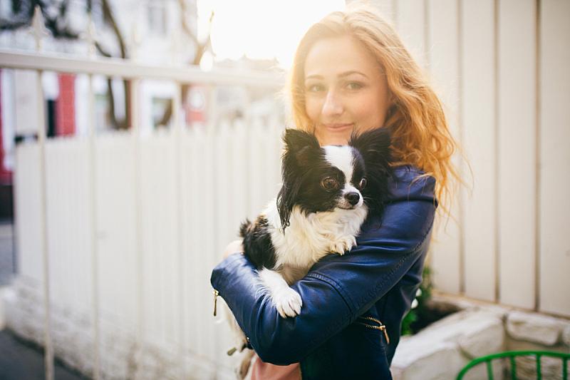 篱笆,狗,女人,小的,幽默,黑白图片,两只动物,日落,爱