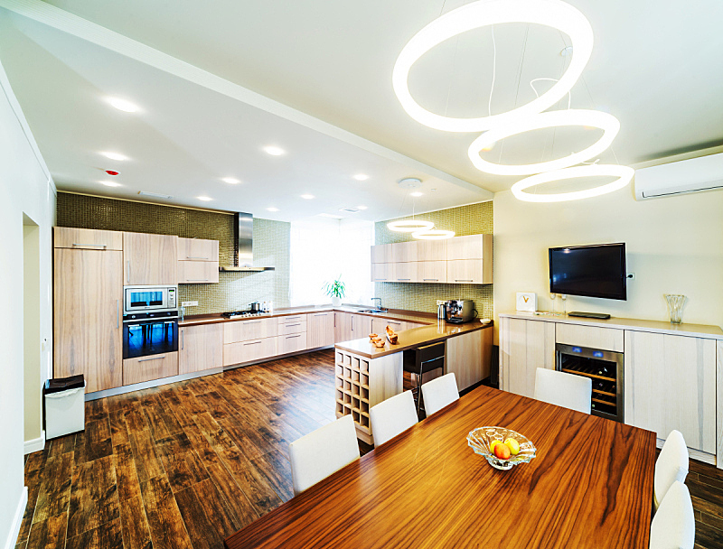 现代,室内,厨房,抽屉,饭厅,水平画幅,无人,椅子,天花板,家具