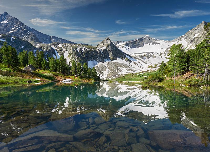 阿尔泰山脉,夏天,地形,俄罗斯,自然美,冰碛,卡斯基德山脉,西伯利亚,水,天空