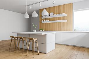 厨房,侧面视角,安全护栏,白色,空的,华贵,地板,炊具,椅子,现代
