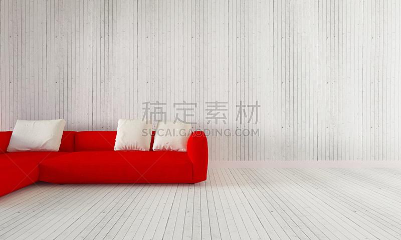 室内,极简构图,起居室,红色,沙发,美,留白,水平画幅,墙,无人