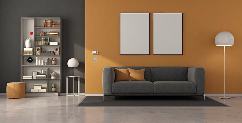 灰色,沙发,起居室,极简构图,书架,脚凳,吧椅,空的,纺织品,照明设备