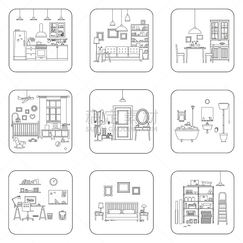 住宅房间,线条,室内,浴室,绘画插图,灯,家具,居住区,商业厨房,现代