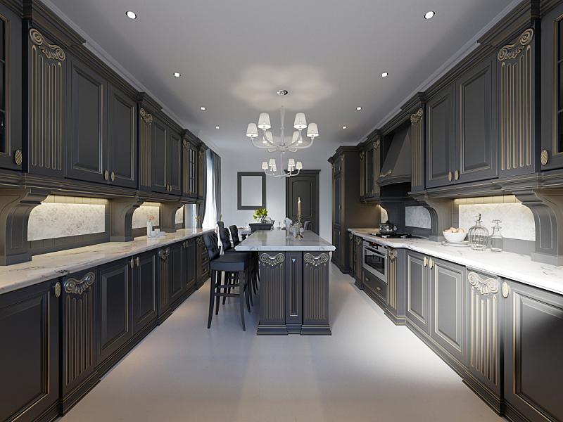 现代,厨房,大特写,木制,室内设计师,极简构图,简单,公寓,吧椅,空的