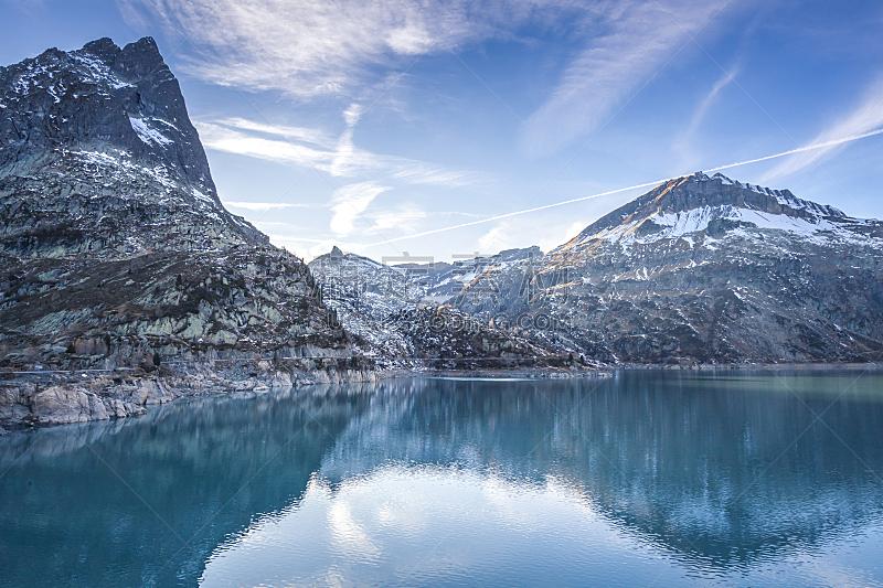 艾莫森湖,瑞士阿尔卑斯山,休闲活动,水平画幅,云,雪,无人,户外,湖,在上面