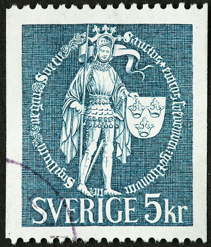 盔甲服,侍从,垂直画幅,中世纪时代,瑞典,王冠,盾,古典式,人,邮票