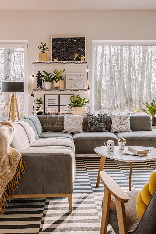 明亮,室内,起居室,宽的,垂直画幅,留白,无人,家庭生活,架子,家具