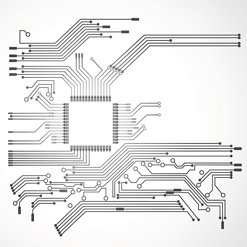 电路板,半导体,无人,绘画插图,科学,计算机软件,中央处理器,特写,建筑业,工业