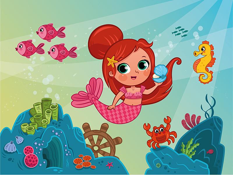 绘画插图,小美人鱼塑像,矢量,海洋,在下面,美,水平画幅,贻贝,海马,水下