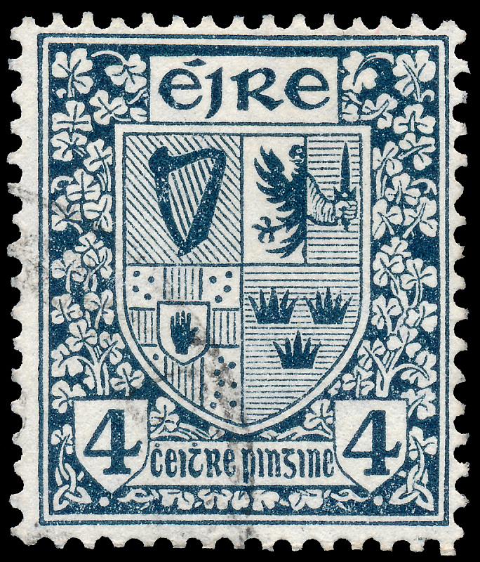 爱尔兰共和国,邮票,1922,邮戳,穿孔的,外套,信函,复古风格,古董,古典式