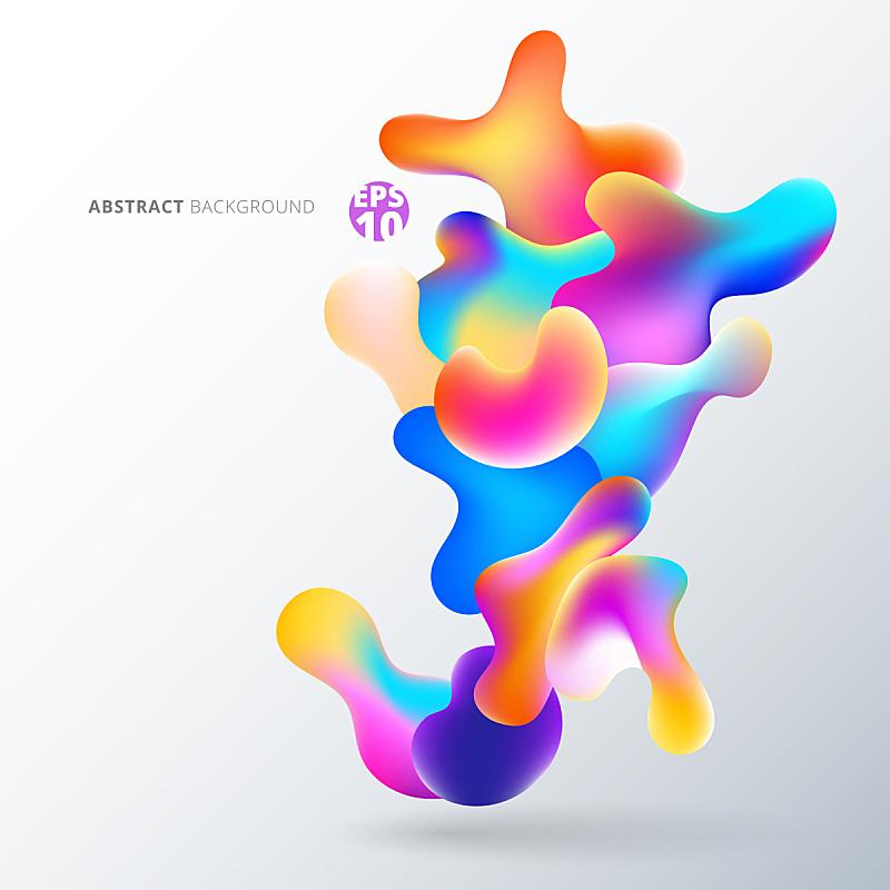 泡泡,形状,色彩鲜艳,抽象,液体,白色背景,多层效果,水,未来,绘画插图