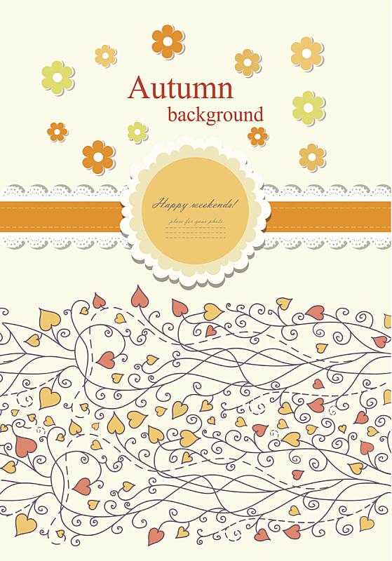 鞋带,矢量,秋天,背景,青少年,贺卡,纹理效果,纺织品,绘画插图,古老的