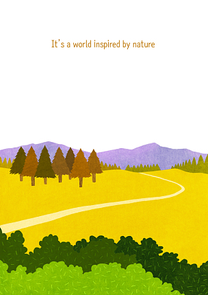 风景插画,自然,季节,秋天,风景,植物,背景,通路,树,日落