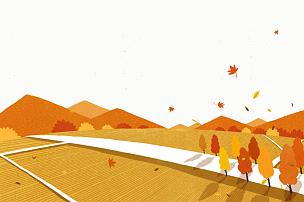秋天,背景,插图画法,绘画插图,枫树,山,菜园,田园风光,树,日落