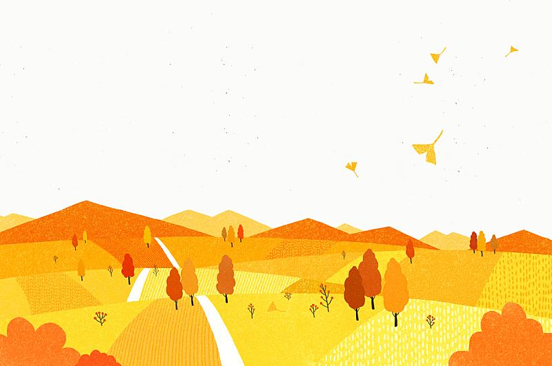 秋天,背景,插图画法,绘画插图,田地,山,枫树,叶子,银杏树,树