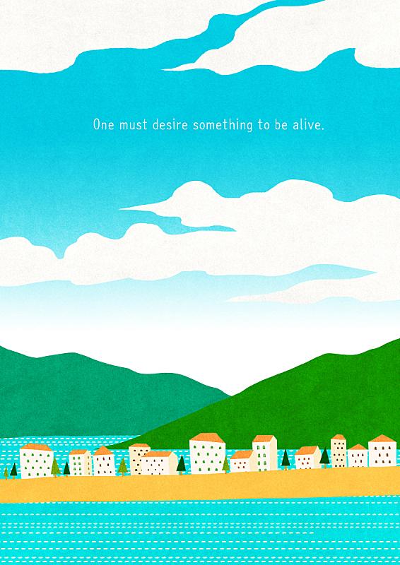 风景插画,插图画法,海洋,春天,自然,乡村,季节,房屋,风景,植物