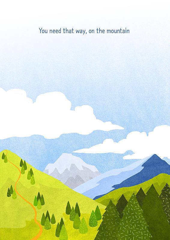 风景插画,插图画法,草原,风景,春天,山,自然,季节,植物,背景