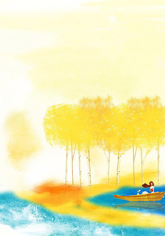 绘画插图,秋天,插图画法,女性,风景,湖,水彩画颜料,一个人,背景,图像
