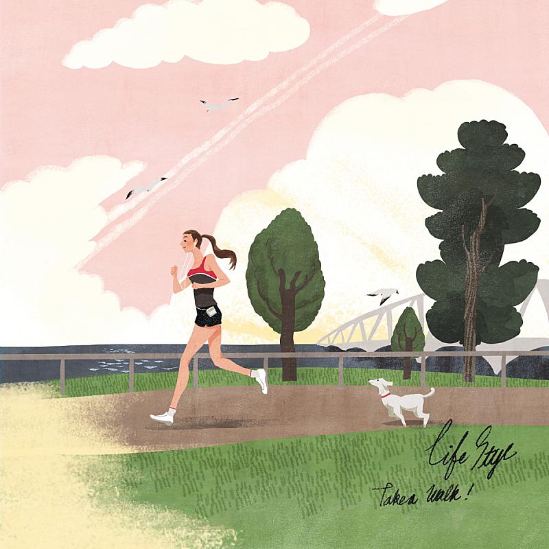 生活方式,绘画插图,自然,乡村,人,风景,女性,慢跑,公园,哈巴狗